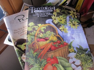 The lonely pile of seed catalogs this year- I am forsaking you for a local business.