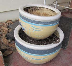 I've seen pots placed lopsided, and centered, but I decided to stack them off center.